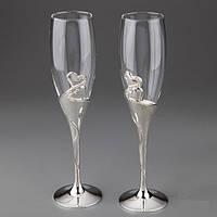 Свадебные фужеры под шампанское на мельхиоровых ножках
