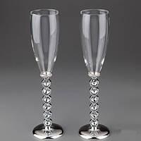 Свадебные бокалы под шампанское на мельхиоровых ножках