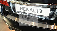 Защитная хром накладка на задний бампер (планка без загиба) Renault Latitude (рено латитьюд 2011+)