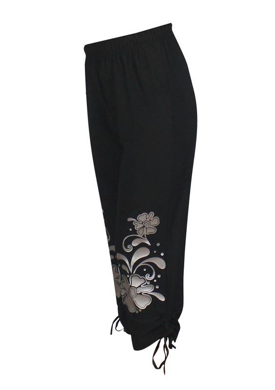 фото teens.ua - черные капри для женщин с шелкографией Барвинок