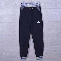 """Утепленные спортивные штаны """"Adidas реплика"""". 7-12 лет. Темно-синие. Оптом"""