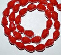 Бусины хрусталь, капля, 8х11 мм, красный матовый (60 шт) 5_33_173