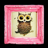 Подарок картина керамическая для любителей кофе авторский дизайн Сова 12*12см 9775