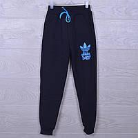 """Утепленные спортивные штаны """"Adidas реплика"""". 7-12 лет. Черные. Оптом, фото 1"""