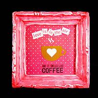 Подарок картина керамическая для любителей кофе авторский дизайн Кофейная любовь 12*12см 9777