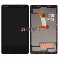 Дисплей Nokia X2 Dual Sim с сенсором (тачскрином) и рамкой черный