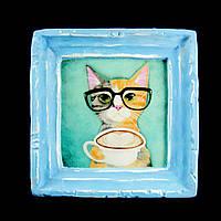 Подарок картина керамическая для любителей кофе авторский дизайн Кот 9*9см 9780