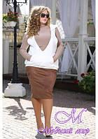 Женская замшевая юбка большого размера (р. 48-90) арт. Ольга