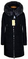 Молодежный,теплый,модный зимний пуховик больших размеров на силиконе цвет черный р-42,44,46,48,50,52,54,56
