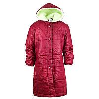 Пальто осеннее стеганое с капюшоном для девочки 3-6 лет
