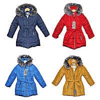 Пальто детское зимнее на овчине для девочки Поясок