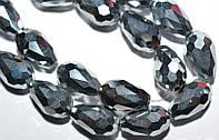 Бусины хрусталь, капля, 8х11 мм, серебристый светлый (60 шт)  5_33_186