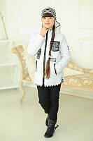 Белая курточка с шапкой для девочки БОНИ