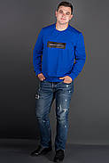 Мужская толстовка однотонная, горловина круглая, Роэль, цвет электрик / размерный ряд 48-56, фото 2
