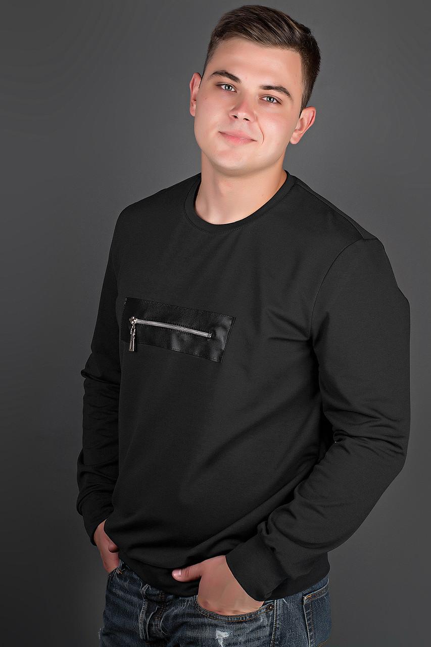 Мужская толстовка однотонная, горловина круглая, Роэль, цвет черный / размерный ряд 48-56