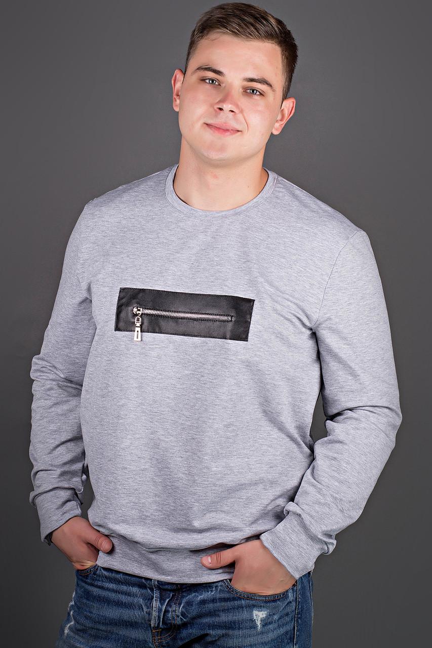 Мужская толстовка однотонная, горловина круглая, Роэль, цвет серый / размерный ряд 48-56