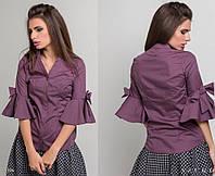 Коттоновая  блузка с коротким волановым рукавом и бантом