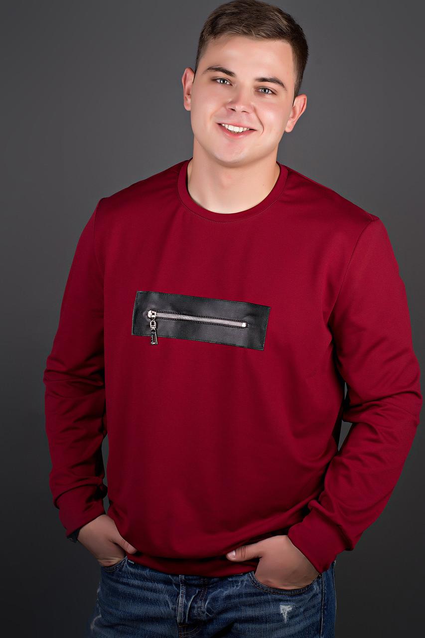 Мужская толстовка однотонная, горловина круглая, Роэль, цвет бордо / размерный ряд 48-56