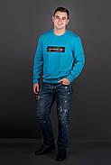 Мужская толстовка однотонная, горловина круглая, Роэль, цвет бирюза / размерный ряд 48-56, фото 2