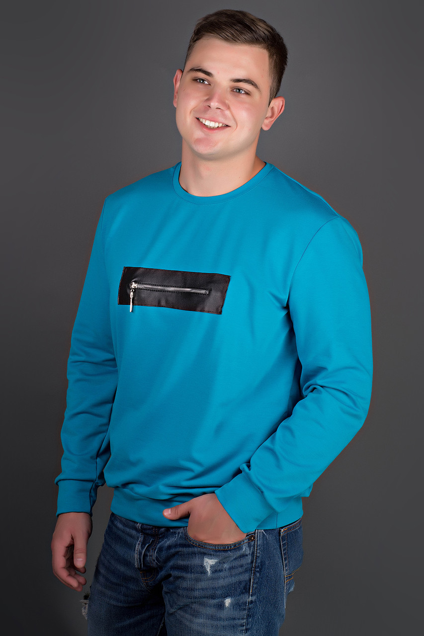 Мужская толстовка однотонная, горловина круглая, Роэль, цвет бирюза / размерный ряд 50