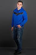Мужская толстовка однотонная-комбинированная с кожей Ирланда, цвет электрик / размерный ряд 48-56, фото 2