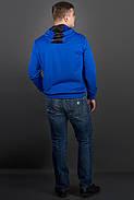 Мужская толстовка однотонная-комбинированная с кожей Ирланда, цвет электрик / размерный ряд 48-56, фото 3