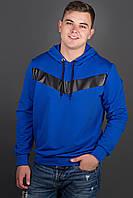 Мужская толстовка однотонная-комбинированная с кожей Ирланда, цвет электрик / размерный ряд 48-56
