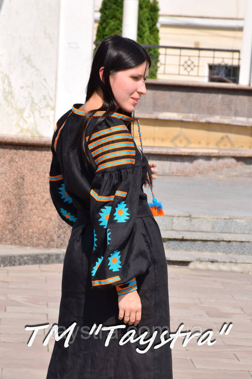 Вышитое платье  бохо вышиванка лен, этно, бохо-стиль, черное платье, Bohemian,Платье макси, стиль Вита Кин