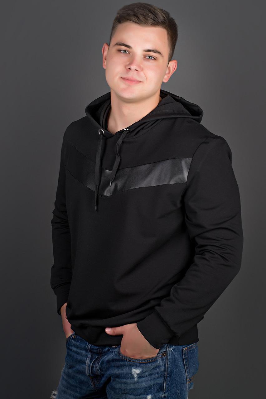 Мужская толстовка однотонная-комбинированная с кожей Ирланда, цвет черный / размерный ряд 48-56