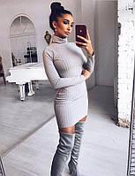 Короткое платье-гольф по фигуре с длинным рукавом