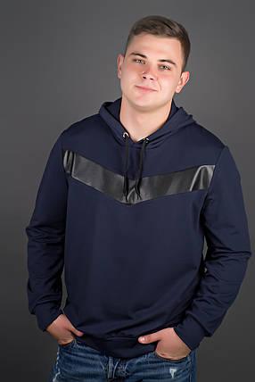 Мужская толстовка однотонная-комбинированная с кожей Ирланда, цвет синий / размерный ряд 48-56, фото 2