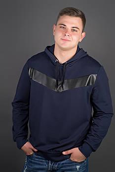 Мужская толстовка однотонная-комбинированная с кожей Ирланда, цвет синий / размерный ряд 52,54
