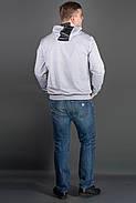 Мужская толстовка однотонная-комбинированная с кожей Ирланда, цвет серый / размерный ряд 48-56, фото 2
