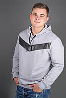 Мужская толстовка однотонная-комбинированная с кожей Ирланда, цвет серый / размерный ряд 48-56
