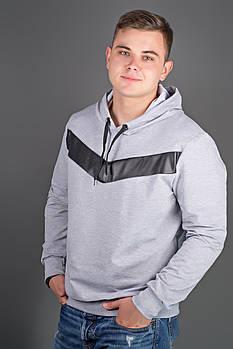 Мужская толстовка однотонная-комбинированная с кожей Ирланда, цвет серый / размерный ряд 52,54,56