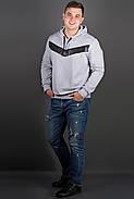 Мужская толстовка однотонная-комбинированная с кожей Ирланда, цвет серый / размерный ряд 48-56, фото 3