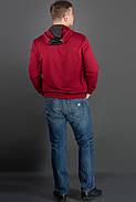 Мужская толстовка однотонная-комбинированная с кожей Ирланда, цвет бордо / размерный ряд 48-56, фото 2