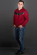Мужская толстовка однотонная-комбинированная с кожей Ирланда, цвет бордо / размерный ряд 56, фото 3