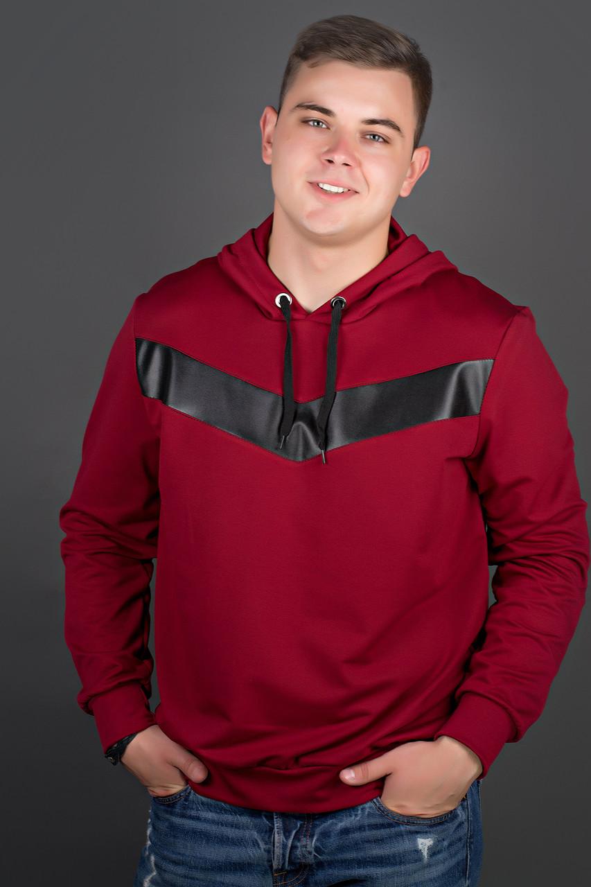Мужская толстовка однотонная-комбинированная с кожей Ирланда, цвет бордо / размерный ряд 56