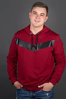 Мужская толстовка однотонная-комбинированная с кожей Ирланда, цвет бордо / размерный ряд 48-56