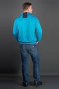 Мужская толстовка однотонная-комбинированная с кожей Ирланда, цвет бирюза / размерный ряд 48-56, фото 2