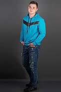 Мужская толстовка однотонная-комбинированная с кожей Ирланда, цвет бирюза / размерный ряд 48-56, фото 3