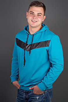 Мужская толстовка однотонная-комбинированная с кожей Ирланда, цвет бирюза / размерный ряд 48-56