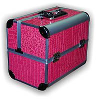 Чемодан металлический раздвижной розовый лак 2