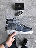 "Кроссовки Nike Special Field Air Force 1 Mid ""Dark Grey/Dark Grey-Light Bone"". Живое фото(аир форс, эир форсы)"