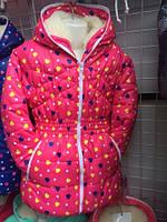"""Куртка зимняя детская, подростковая талия резинка """"Сердце"""""""
