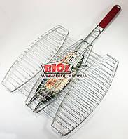 Решетка тройная для гриля, барбекю, рыбы 38х37 см