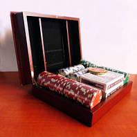 Покерный набор в деревянном кейсе, без номинала, 150 фишек