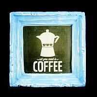 Подарок картина керамическая для любителей кофе авторский дизайн Кофеварка 12*12см 9789