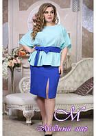 Стильная женская юбка больших размеров (р. 48-90) арт. Доротея с поясом